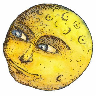 Moon Face Pin Photo Sculpture Badge