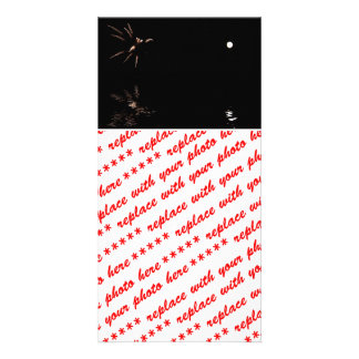 Moon & Fireworks Reflection Photo Card Template