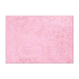 Moon Fish Eco Flow - Drawing - Thin Border Canvas Print