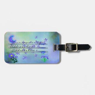 Moon Garden Floral Mixed Media Luggage Tag