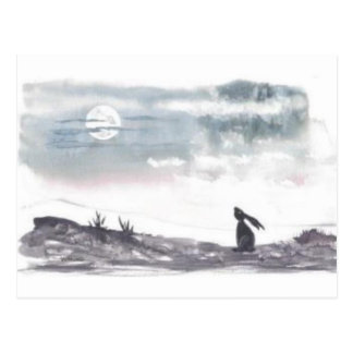Moon Gazing Hare Postcard