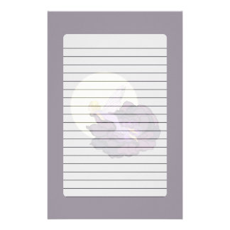 Moon Gazing Purple Flower Fairy Evening Sky Personalized Stationery