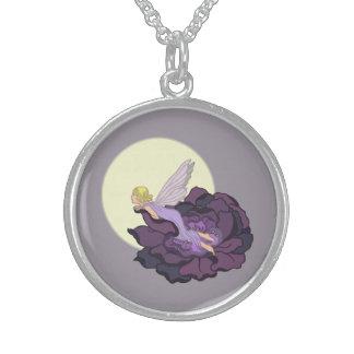 Moon Gazing Purple Flower Fairy Evening Sky Round Pendant Necklace