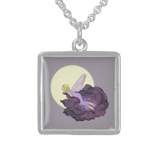 Moon Gazing Purple Flower Fairy Evening Sky Square Pendant Necklace