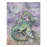 Moon Gazing Witch Dragon Cat Poster