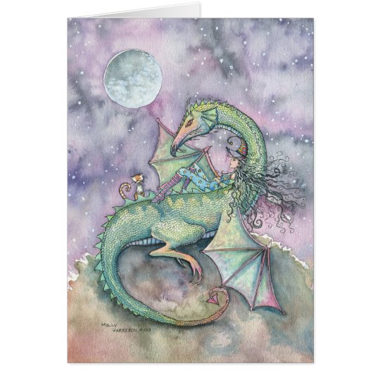 Moon Gazing Witch Dragon Fantasy Art Card