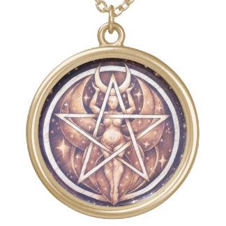 Moon Goddess Pentacle Pendant - Large Gold