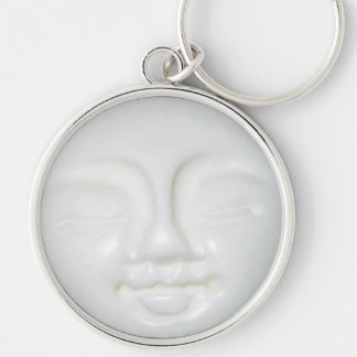 Moon Goddess Porcelain Silver-Colored Round Key Ring