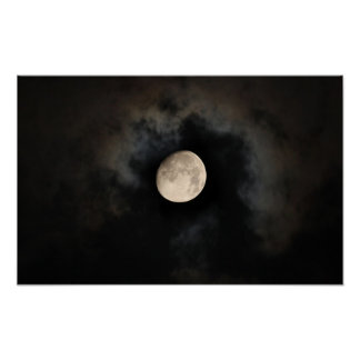 Moon in Cloudy Sky Poster