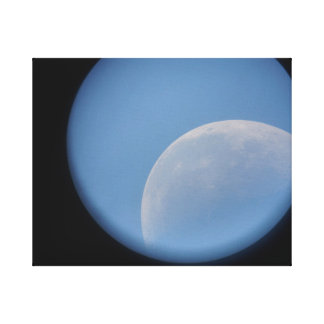 moon in daytime through telescope rural australia canvas prints