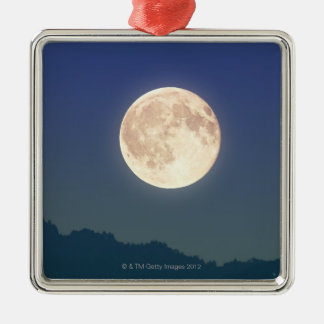 Moon in the Night Sky Silver-Colored Square Decoration
