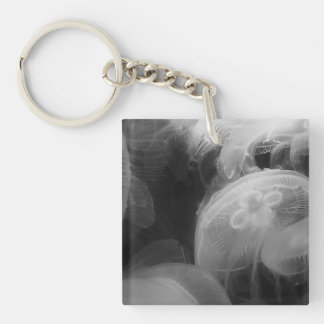 Moon Jellyfish Double-Sided Square Acrylic Key Ring