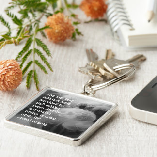 Moon Jellyfish Silver-Colored Square Key Ring