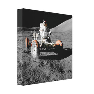 moon landing astronaut buggy space canvas print