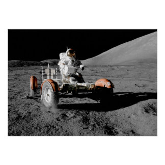 moon landing vehicle astronaut space poster