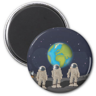 Moon Landings 6 Cm Round Magnet