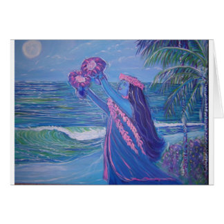 moon light lady hula greeting card