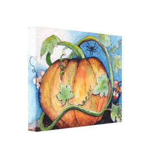 Moon lit night in the pumpkin patch canvas print