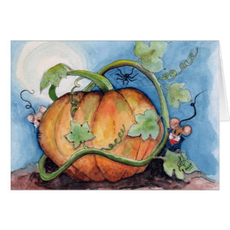 Moon lit night in the pumpkin patch greeting card