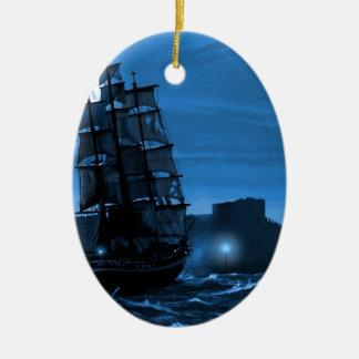 Moon lit sailing ship through a Spyglass Ceramic Oval Decoration
