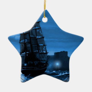 Moon lit sailing ship through a Spyglass Christmas Ornament