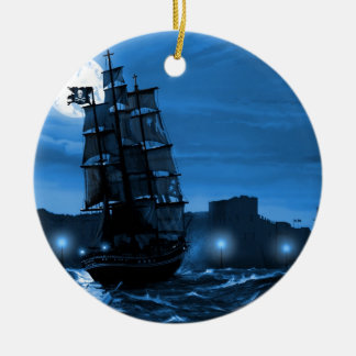 Moon lit sailing ship through a Spyglass Round Ceramic Decoration