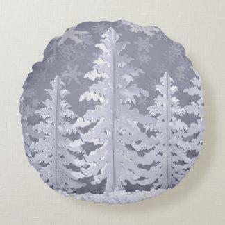Moon lit Winter landscape Round Cushion