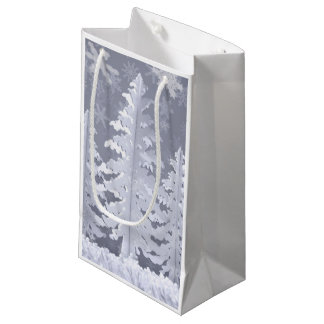 Moon lit Winter landscape Small Gift Bag