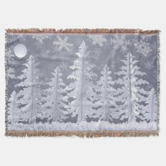 Moon lit Winter landscape Throw Blanket