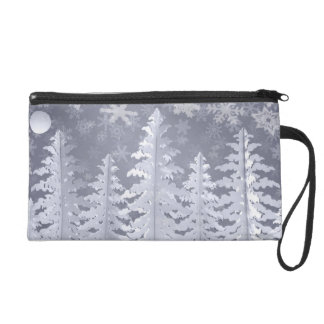 Moon lit Winter landscape Wristlet Purses