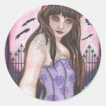 Moon Maiden I - Dark gothic fantasy art Classic Round Sticker