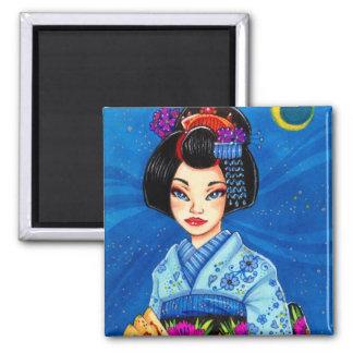 Moon Maiko Magnet, Geisha Japanese Art Square Magnet