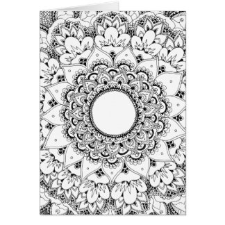 Moon mandala blank greeting card