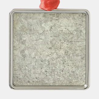 Moon Map Silver-Colored Square Decoration