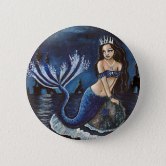Moon mermaid 6 cm round badge