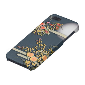 Moon, mist and flowers elegant japanese pattern iPhone 5/5S cases