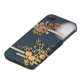 Moon, mist and flowers elegant japanese pattern case for iPhone 4