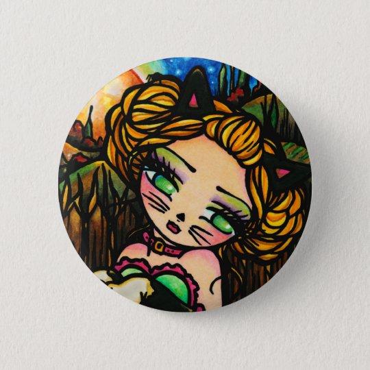 Moon Night Halloween Kitty Cat Girl Fantasy Art 6 Cm Round Badge