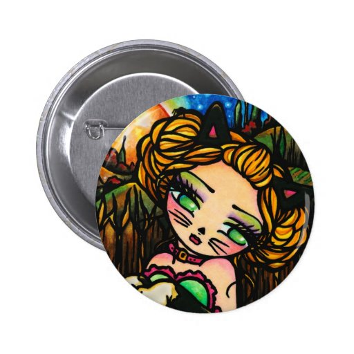 Moon Night Halloween Kitty Cat Girl Fantasy Art Pinback Button