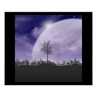 Moon Night Sky Star Christmas Contemporary Modern Poster