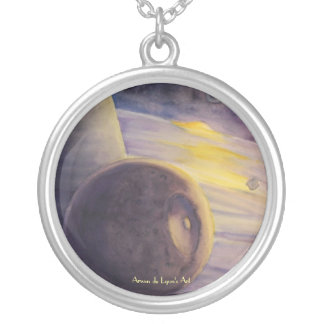 Moon of Saturn Round Pendant Necklace