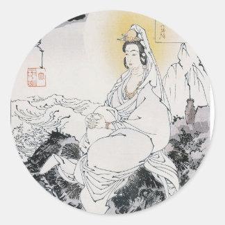 Moon On The Southern Sea (Nankai no tsuki). Round Sticker