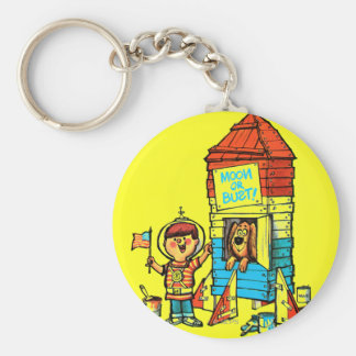 Moon or Bust! Basic Round Button Key Ring