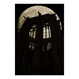 moon over cathedral poster