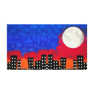 Moon Over City Canvas Print