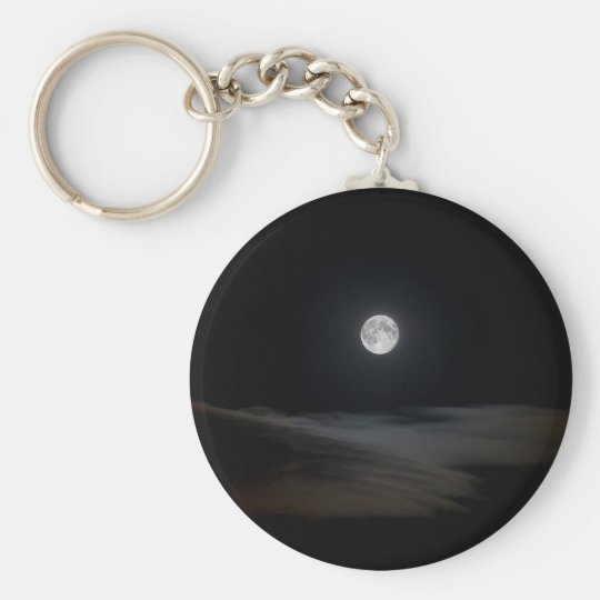 Moon over Clouds Basic Round Button Key Ring
