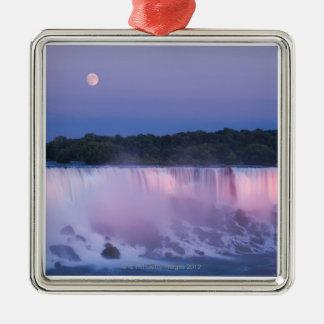 Moon over Niagara Falls Silver-Colored Square Decoration