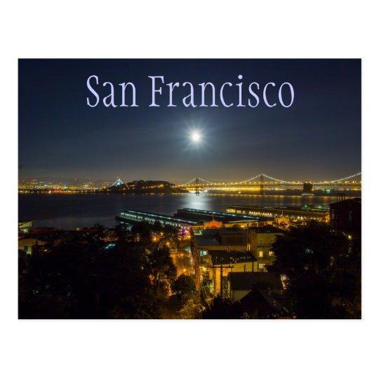 Moon over Oakland Bay Bridge, San Francisco, CA Postcard