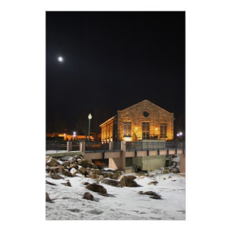 Moon over old light plant in Sioux Falls SD Poster