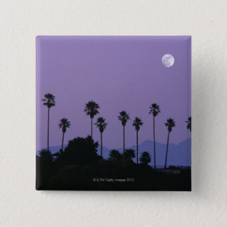 Moon over palm trees at dusk, Hollywood 15 Cm Square Badge